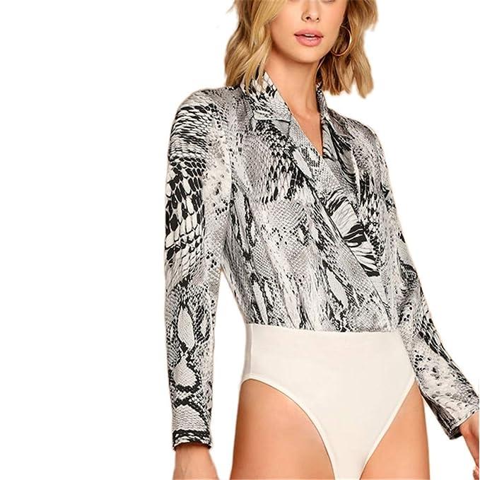 6e232055f5f4 Modern Lady Multicolor Surplice Neck Snake Skin Shirt Animal Deep V Bodysuit  Women Spring Elegant Bodysuits