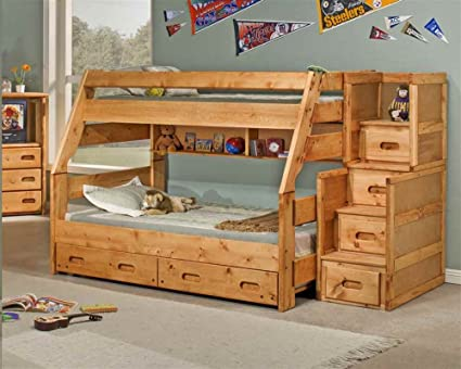 Amazon Com Twin Over Full Bunk Bed With Trundle Kitchen Dining