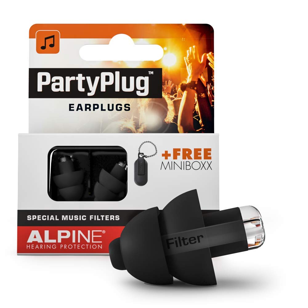 Alpine PartyPlug Ear Plugs for Loud Music Environments, Black by Alpine Hearing Protection