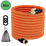 TACKLIFE [Classic Essential 50ft Expandable Garden Hose with Double Latex Core, 3/4' Brass Connectors, No-Kink Flexible and No-Leak Water Hose-GGH1A