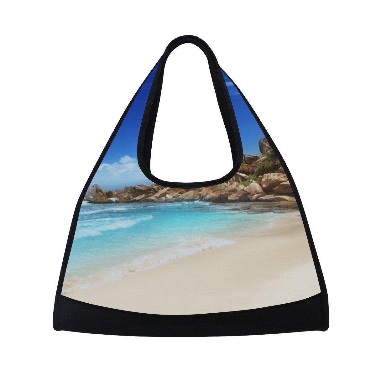 AHOMY Canvas Sports Gym Bag Beach White Cloud And Blue Sky Travel Shoulder Bag