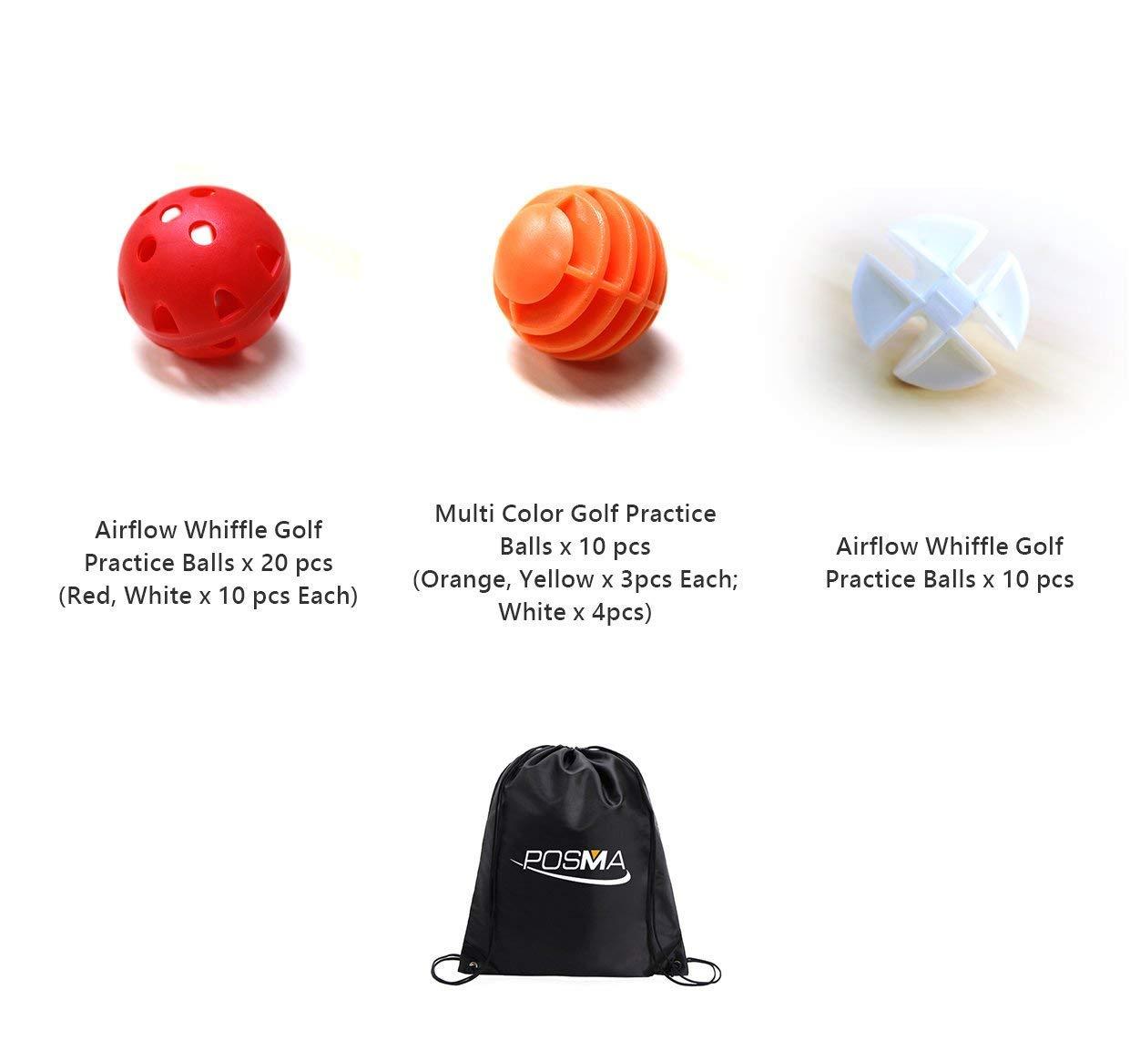 POSMA PB050A Airflow Whiffle Golf Practice Ball Multi Color + Multi Color Golf Balls + White Golf Ball + Carry Bag