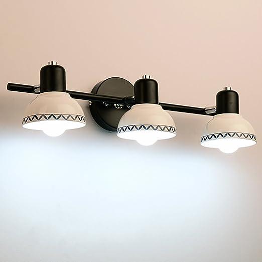 Espejo Espejo de cerámica Lámparas LED Faros delanteros, baño aseo baño tocador maquillaje espejo armario