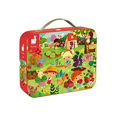 Janod 36 Piece Garden Jigsaw Puzzle – Mini Suitcase for Organized Storage – Store Everything Inside and Transport Everywhere – Cognitive Development – Ages 4+: Toys & Games