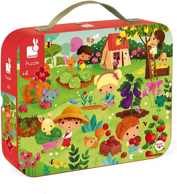 Janod 36 Piece Garden Jigsaw Puzzle – Mini Suitcase for Organized Storage – Store Everything Inside and Transport Everywhere – Cognitive Development – Ages 4+