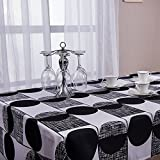 Black Kitchen Table ColorBird Modern Geometric Tablecloth White/Black Abstract Round Fabric Dust-proof Table Cover for Kitchen Dinning Table Wedding Party Home Decoration (55