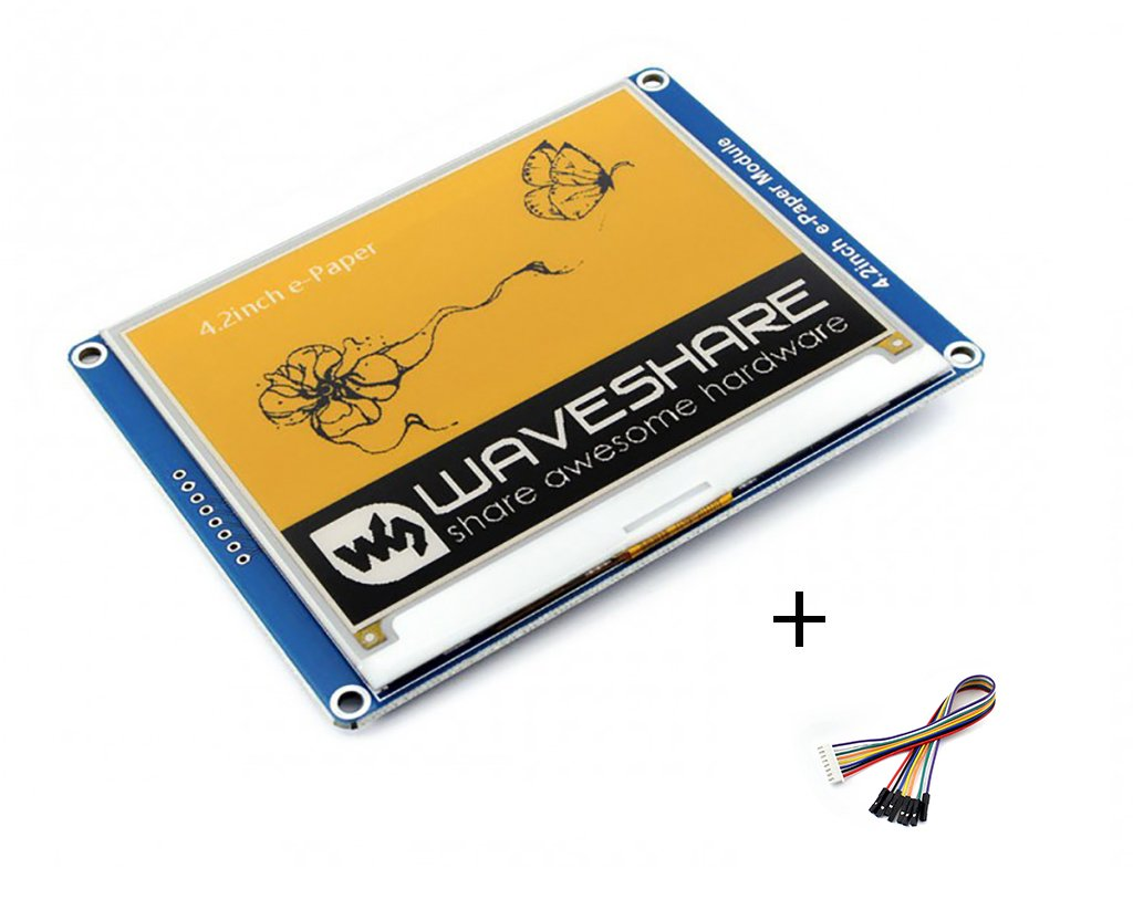 Tri-color 4.2inch E-Ink Display Module Resolution 400x300 3.3v Three-color Yellow/Black/White E-paper Electronic Screen Panel SPI Interface for Raspberry Pi/Arduino/Nucleo