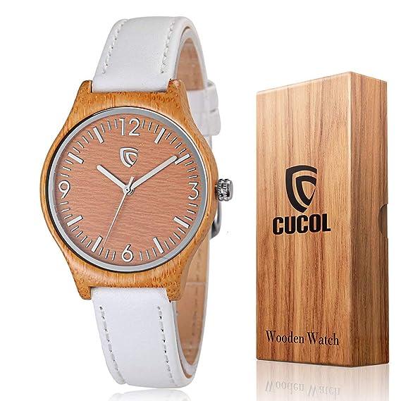cucol® relojes de madera de bambú de cuarzo para mujer correa de piel color blanco diseño minimalista con caja de regalo: Amazon.es: Relojes