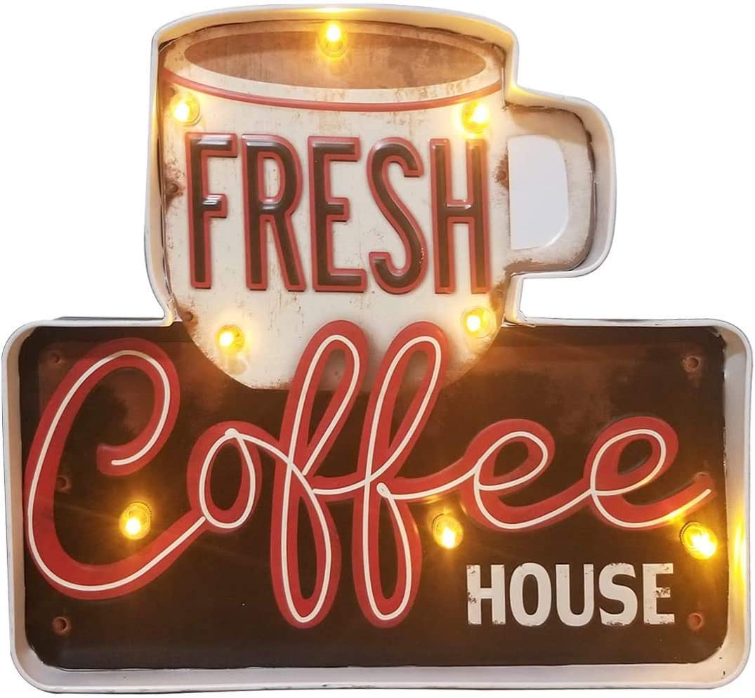 VEESA Coffee Shop Wall DecorationLuminous Signs,Using Retro-Painted Industrial Metal Technology, Deliberately Faded and Worn, Used in Bars, Home,Apartment,Kitchens etc–Battery Operated (Coffee-A)