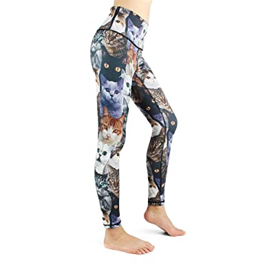 fbc1785f72151 Yoga Pants for Women Cute CAT High Waisted Printed Leggings Gym Tights for  Girls (S