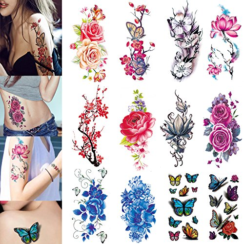 3D Temporary Tattoos for Women Flowers Large Lotus Rose Cherry Butterfly Waterproof Tattoo Sexy Fake Stickers Girls Lady Tattoo Body - Flower Tattoos Butterfly