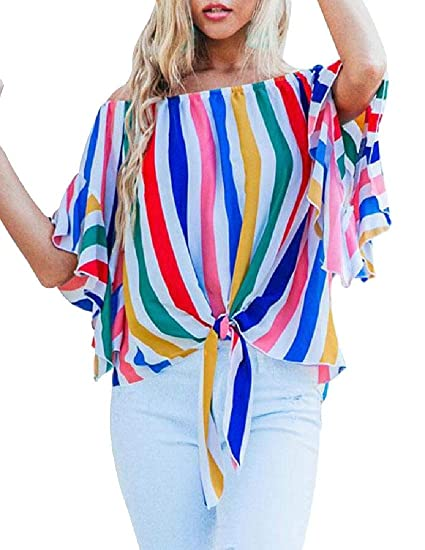 a987b1ff325811 Alion Women s Tie Knot Casual Blouses Tops Striped Off Shoulder Bell Sleeve  Shirt at Amazon Women s Clothing store
