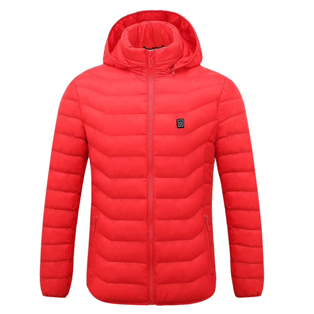 Close-dole Men's Soft Shell Heated Jacket with Detachable Hood and Battery Pack Smart USB Electric Heating Warm Down Coat Red by Close-dole