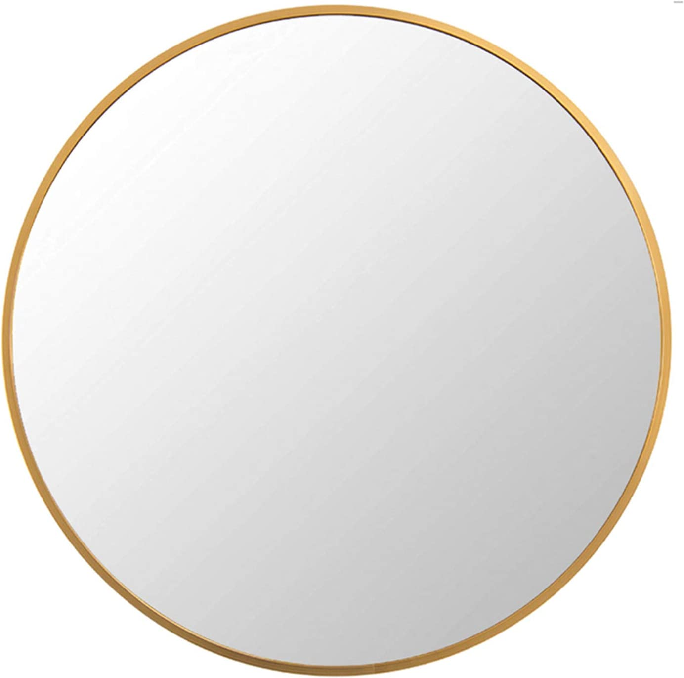 FANYUSHOW Round Mirror for Bathroom, Gold Circle Mirror for Wall Mounted, 20'' Modern Brushed Brass Metal Frame Round Mirror for Wall Decor, Vanity, Living Room, Bedroom
