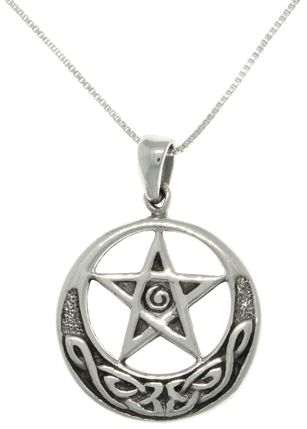 Jewelry Trends Celtic Star and Moon Sterling Silver Pendant Necklace 18