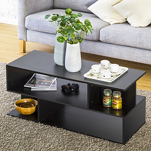 Homury Wood Coffee Table Media TV Stand Storage Console Cabinet Bookcase Display Stand Cabinet Storage Closet Organizer, Black (Tv With Bookcase Space)