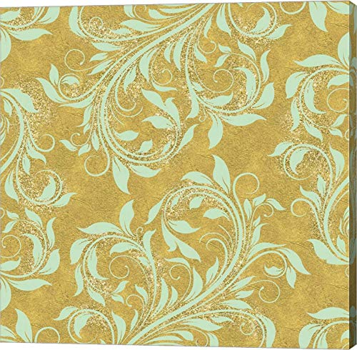 - Golden Luna Angel Damask by Tina Lavoie Canvas Art Wall Picture, Gallery Wrap, 14 x 14 inches