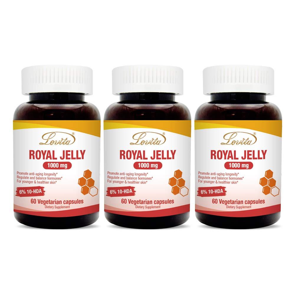 Lovita Royal Jelly 1000mg, 20mg 10-HDA, 60 Vegetarian Capsules (Pack of 3)