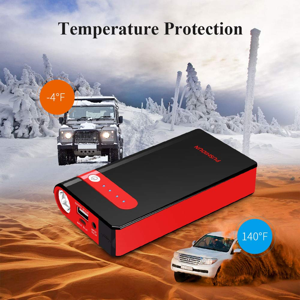 PUSHIDUN Jump Starter 500A Peak 10000mAh Emergency Auto Battery Booster up to 3.5L Gas Engine with Smart Charging Port