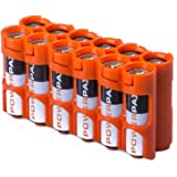 Storacell by Powerpax AA Battery Caddy, Orange, Holds 12 Batteries
