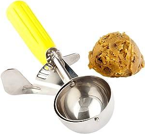 #20 (2 oz) Disher, Scoop, Food Scoop, Ice Cream Scoop, Portion Control - Yellow Handle, Stainless Steel, Met Lux - 1ct Box - Restaurantware