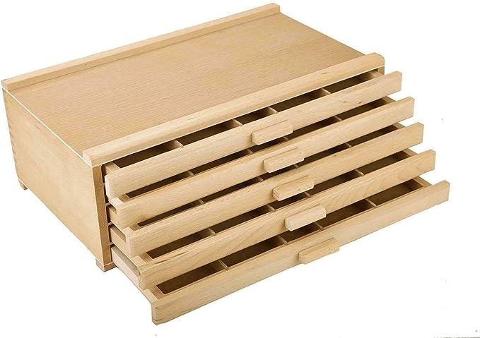 Lapha - Caja de madera con 5 cajones para guardar bolígrafos, lápices, carbón, 17 x 11.5 x 6 pulgadas: Amazon.es: Juguetes y juegos
