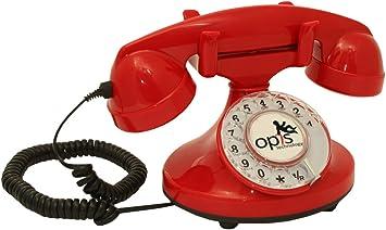 OPIS FunkyFon Cable: Teléfono telefono Fijo Retro con Disco de marcar en el Estilo sinuoso de la década de 1920, con Timbre electrónico Moderno (Rojo): Amazon.es: Electrónica