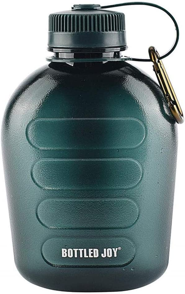 Botella de agua para cantimplora militar, botella de agua de plástico de calidad superior Tritan Army Green Sports portátil con correa para senderismo, ciclismo para acampar, regalo innovador, 1L