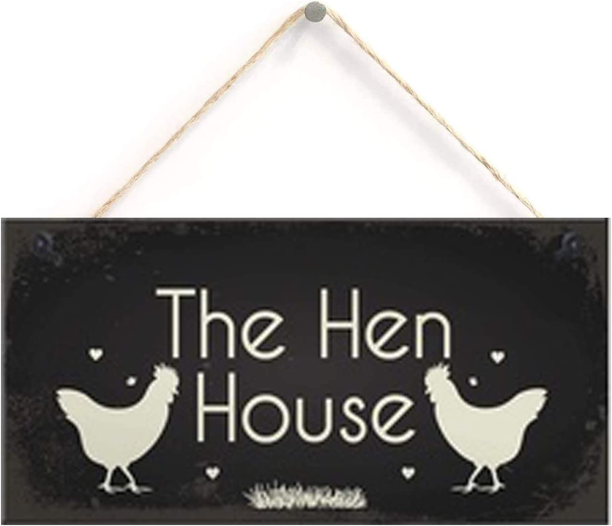 "Wood Plaque Sign Chicken Sign Hanging Sign Pet Sign Chicken Coop Sign Chicken Accessories Garden Plaque Friend Gift 10"" X 5"""