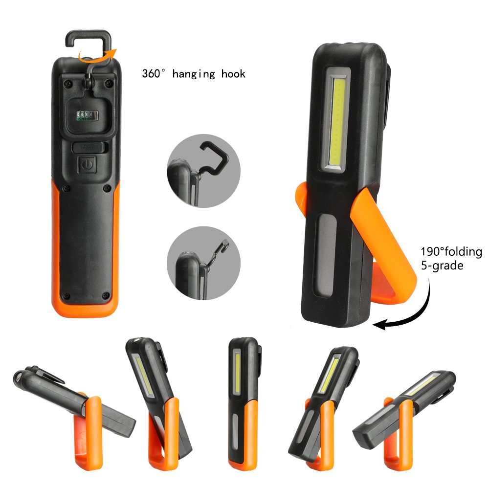 Three trees LED Cordless Work Light COB Rechargeable Portable Hand Held Work Lamp With Hanging Hook, Magnetic Holders, 1200mAh Charging, Multifunction Flashlight (orange)