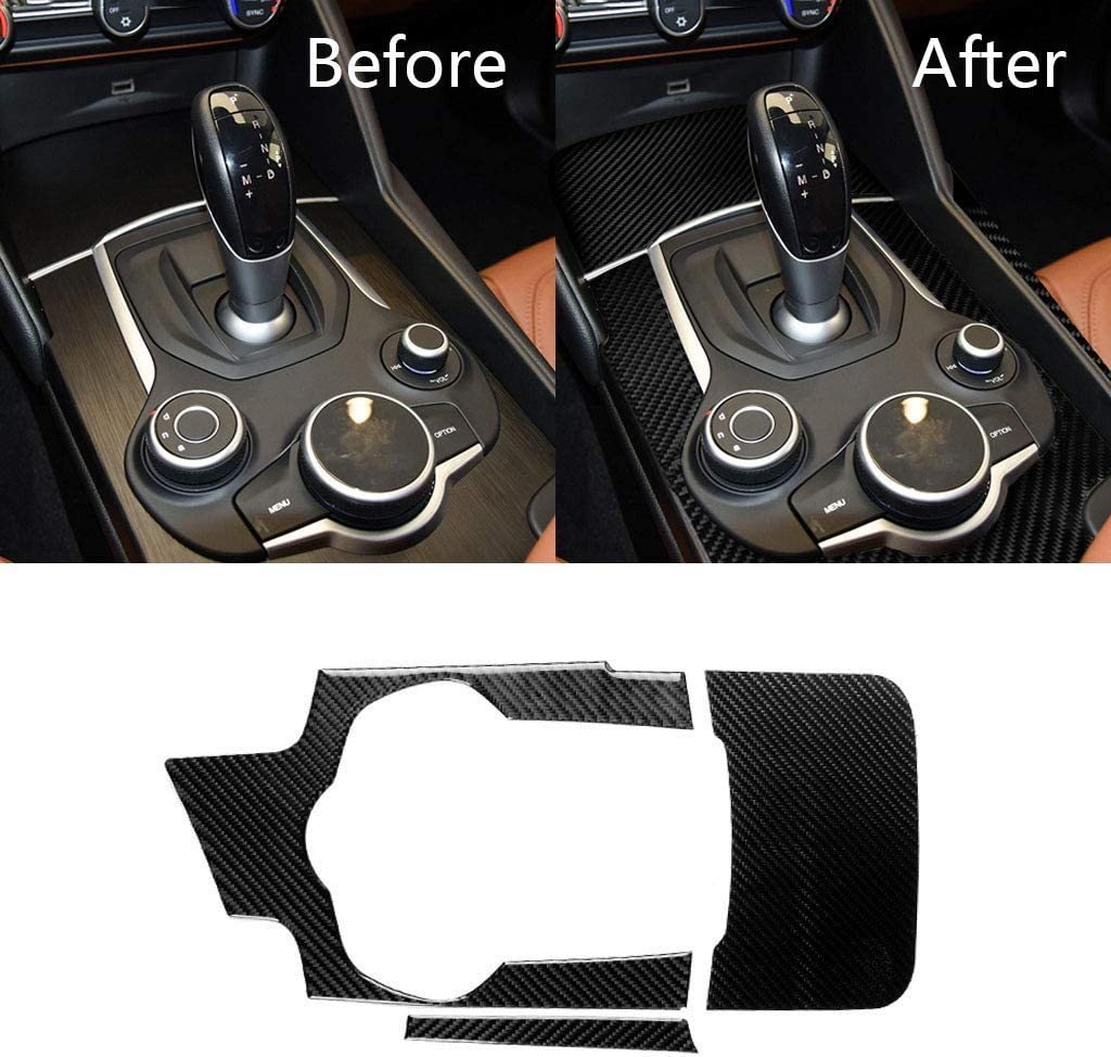 Domilay Car Rearview Mirror Decoration Cover Trim Accessories for Alfa Romeo Giulia 2017 2018 ABS Carbon Fiber