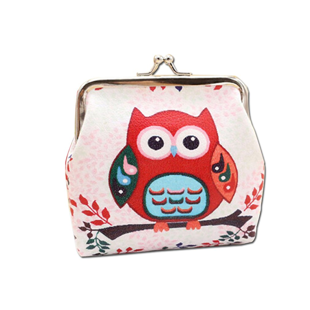 Myhouse Cartoon Coin Purse Owl Pattern Coin Bag Women Girls Mini Wallet (Color 1)