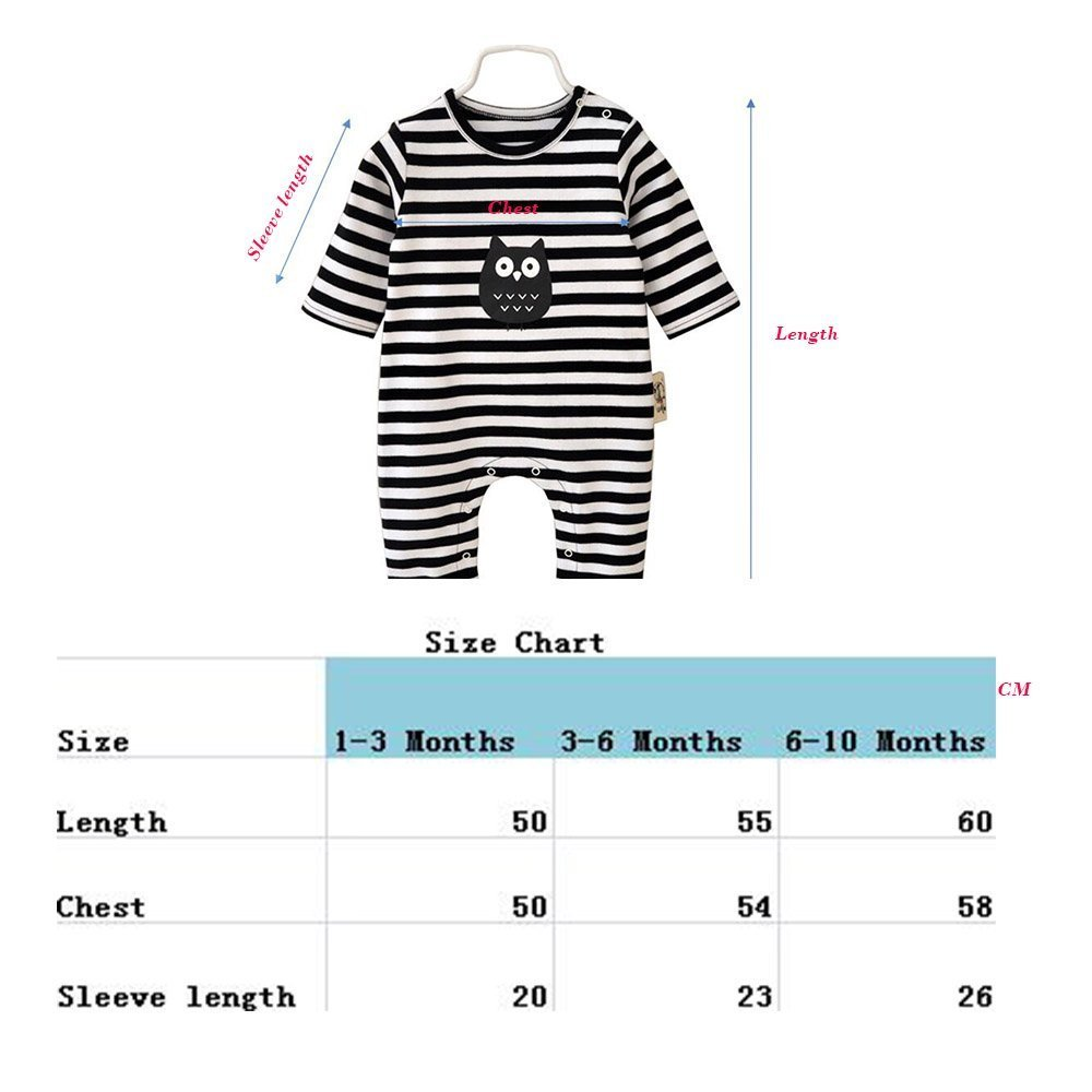 Baby Clothes 3 Pcs Romper Long Sleeve Stripe Jumpsuit with Hat /& Drool Bibs