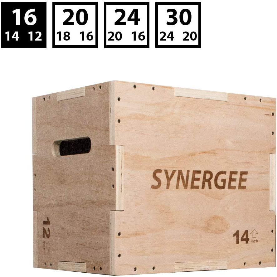 Synergee 3 in 1 Plyometric Box for Jump Training and Conditioning. Foam, Wooden and Non Slip Plyo Boxes. All in One Jump Trainer. Sizes 30 24 20, 24 20 16, 20 18 16, 16 14 12