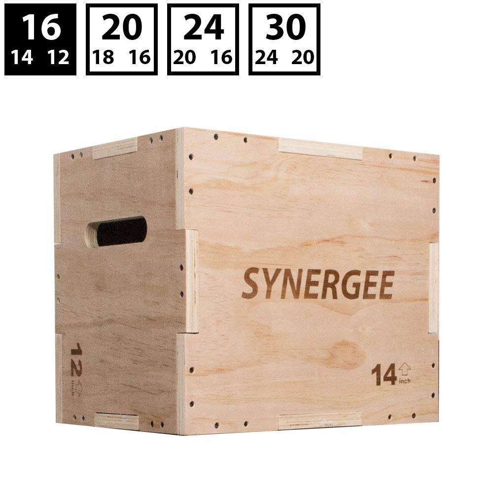 Synergee 3 in 1 Wood Plyometric Box for Jump Training and Conditioning. Wooden Plyo Box All in One Jump Plyo Box Trainer. Size - 16/14/12 by Synergee