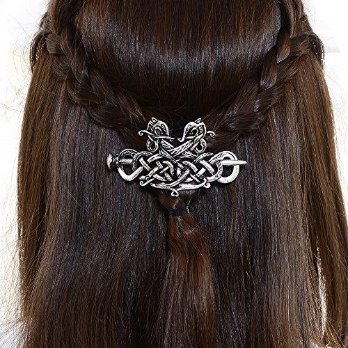 (Large Viking Celtic Hair Clip-Wedding Hair Accessories Viking Dragon Hair Pins Runes Hair Clip Amulet Hair Jewelry Hairpin Celtic Knot Hair Barrettes Sterling Silver Plated Hair Stick for Women)