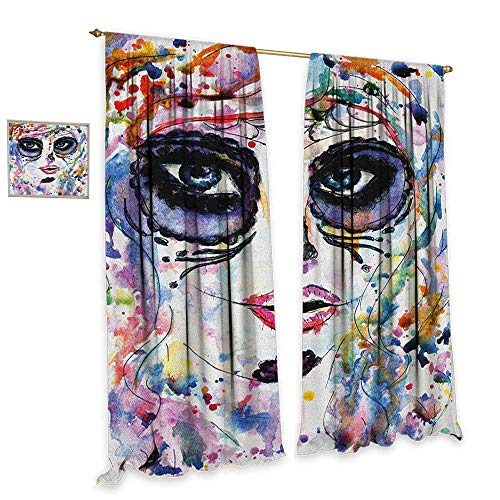 homefeel Sugar Skull Room Darkening Wide Curtains Halloween Girl with Sugar Skull Makeup Watercolor Painting Style Creepy Look Waterproof Window Curtain W84 x L108 Multicolor