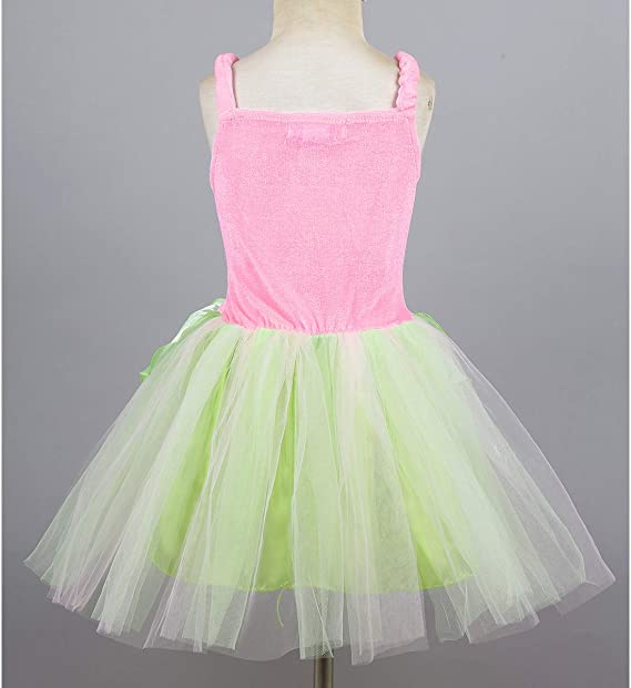 TiaoBug Girls Neverland Fairy Princess Costume Dress Green Classic Wings Wand for Halloween Book Day Fancy Party Cosplay
