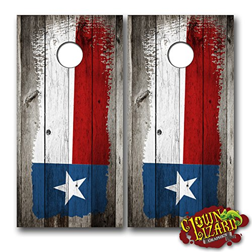CL0059 Texas Flag Distressed Wood Brush CORNHOLE LAMINATED DECAL WRAP SET Decals Board Boards Vinyl Sticker Stickers Bean Bag Game Wraps Vinyl Graphic Image Corn Hole Lone Star Yellow Rose
