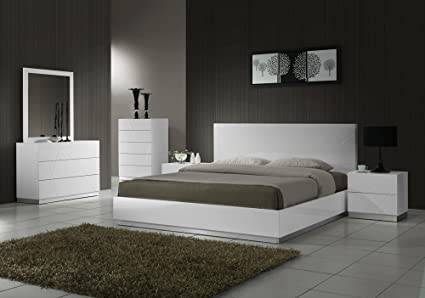 Amazon Com J M Furniture Naples Modern White Lacquered Bedroom Set