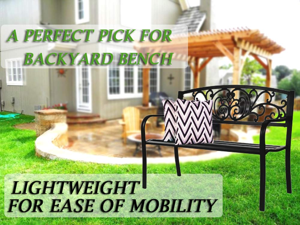 Patio Bench Front Porch Metal Bench Comfortable Outdoor Furniture Iron Black Classic Bench for Garden Park Back Yard Path