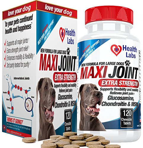 Rescue Super Strength Chewable Tablets - The Health Labs Maxi Joint Strength Glucosamine and Chondroitin Chewable Tablets for Dogs, 120 Tablets