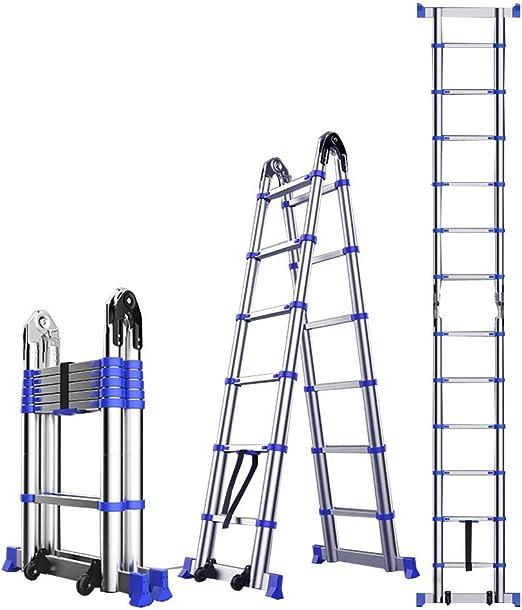 ZR- Aluminio Escalera Telescópica De Extensión, Bricolaje Extensible Plegable Escalera De Marco A Escalera Multiusos, 330lbs Capacidad -Fácil de almacenar y fácil de llevar: Amazon.es: Hogar