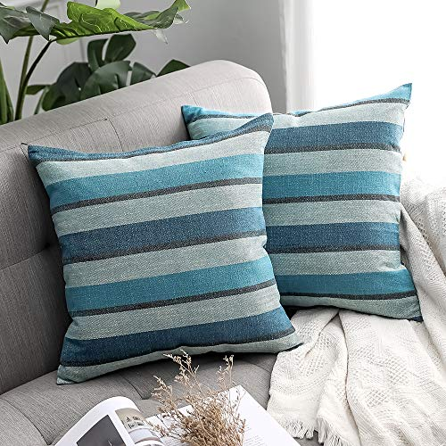 MIULEE Pack of 2 Decorative Classic Retro Stripe Throw Pillow Covers Cotton Linen Modern Farmhouse Pillow Case Blue Cushion Case for Sofa Bedroom Car 18 x 18 Inch 45 x 45 cm -  double_18inch_stripe-pillow-covers-1