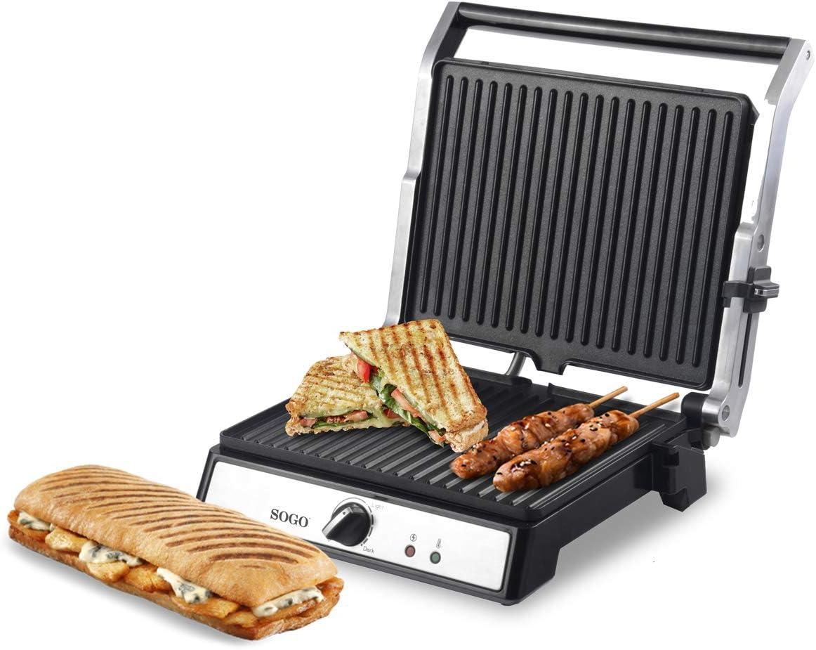 SOGO SS-7144 Sandwichera Press Grill con Apertura de 180º Antiadherente, Panini Grill, Plancha de Asar, Parrilla Eléctrica Antiadherente, 2000 Watts, Acero Inoxidable