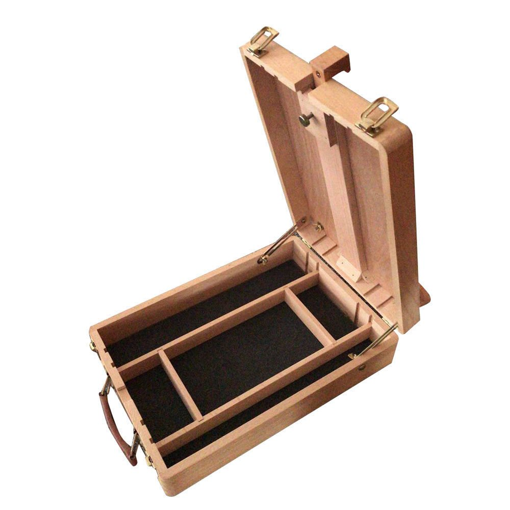 14'' Portable Beech Wood French Tabletop Easel Sketch Box w/Storage Compartments with Ebook