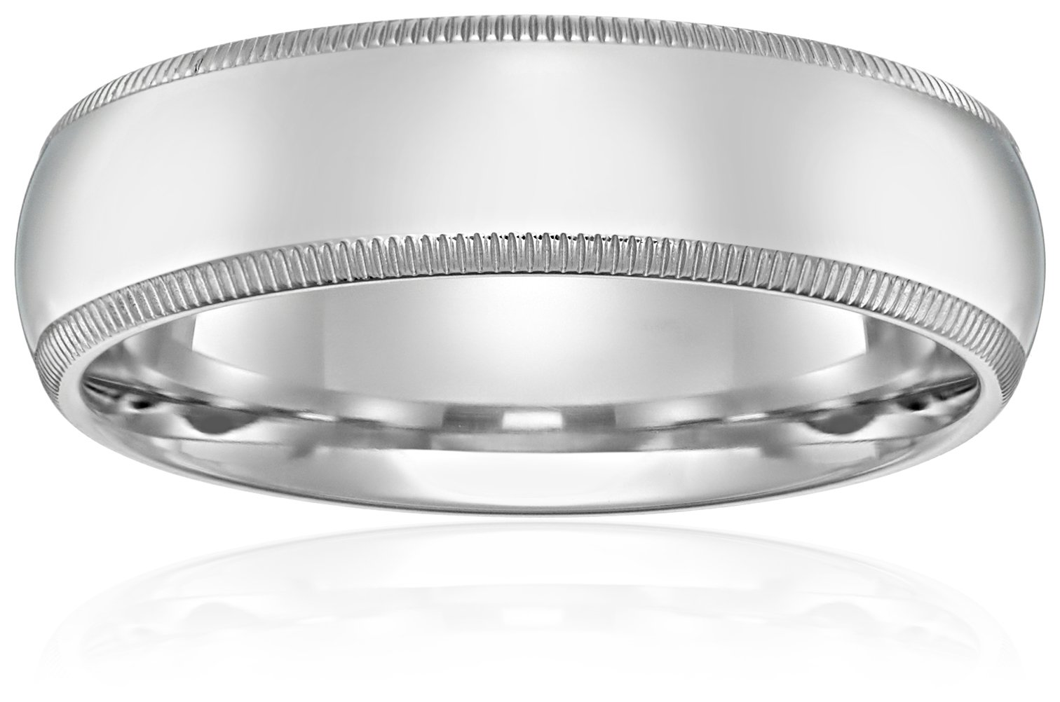 Standard Comfort-Fit 10K White Gold Milgrain Band, 6mm, Size 8.5 by Amazon Collection