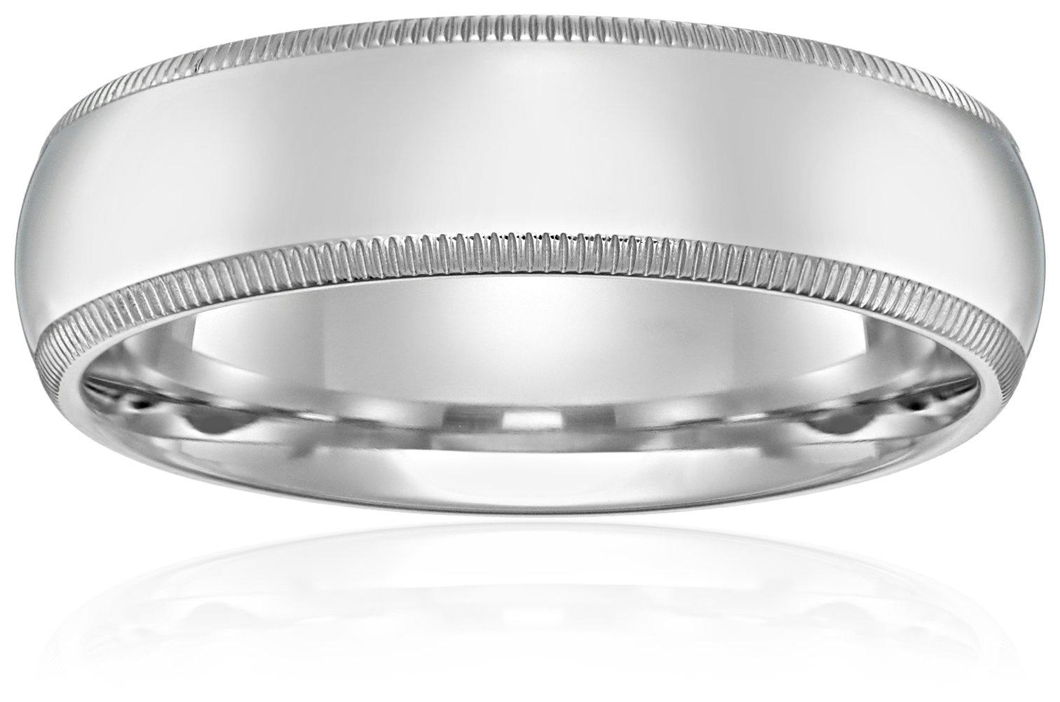 Standard Comfort-Fit 10K White Gold Milgrain Band, 6mm, Size 8.5