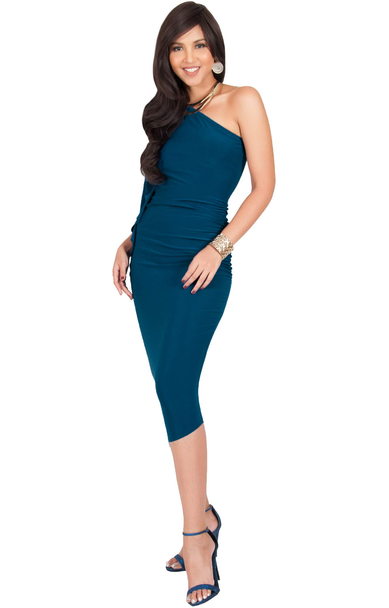 014abdb56a Galleon - KOH KOH Petite Womens One Off The Shoulder Sexy Long Formal  Cocktail Bridesmaid Evening Elegant Wedding Guest Night Party Summer Sun  Midi Dress ...