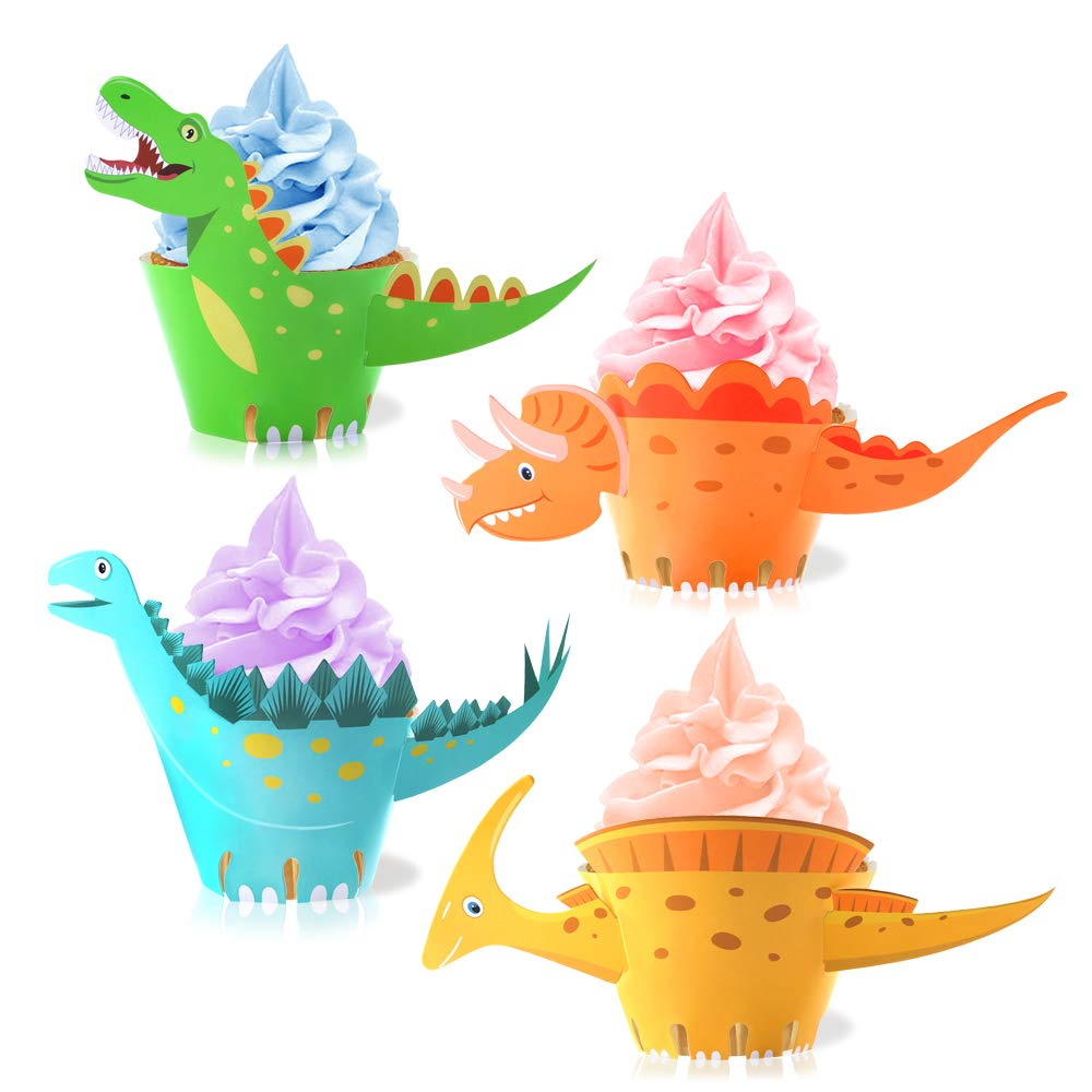 Dinosaur Cupcake Wrappers Toppers(48Pack),Konsait Little Dino Cupcake Toppers Cake Table Decorations Party Supplies for Boys Kids Birthday Party Decor Favors